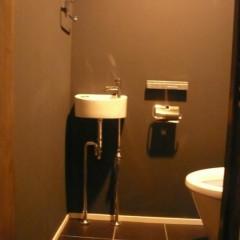 トイレの壁はマットブラックで塗装。シックなテイストで統一しています。