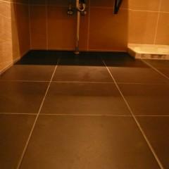 パウダールーム、トイレなど水廻りの床は全てブラウンのタイルで統一。