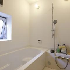 バスルームも十分な大きさを確保。照明はおなじみの船舶用照明。