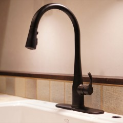 キッチン水栓は人気のグースネック。マットブラックの水栓は珍しいですね。