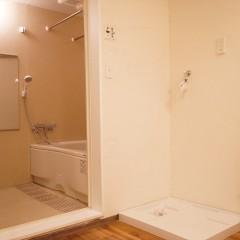 パウダールームはシンプルに。洗濯パンの上にはこれから棚を設置します。