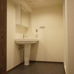 サニタリールームです。洗面台はペデスタル・シンク(足付洗面台に)。