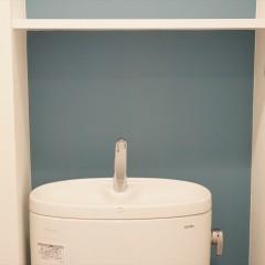 トイレの後ろの壁はアクセントでブルーに塗装しました。とても綺麗な青です。
