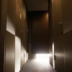 これがイタリア製の布張りの廊下です。個人宅とは思えないシックな空間に。
