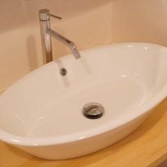 洗面器は大振りのオーバル型。使いやすそうな大きさと形です。