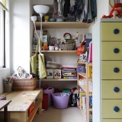 子供部屋の収納。無駄なくスペースを使います。