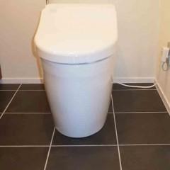 トイレはタンクレスにし、床のタイルは黒で全体的にすっきりとまとめました。