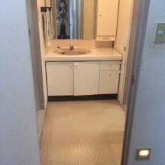 施工前②洗面・洗濯機・キッチンと水廻りはそれぞれ仕切られていました。