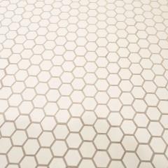 水回りの床は、洗面のレトロなグリーンタイルに合うモザイクタイルで施工。