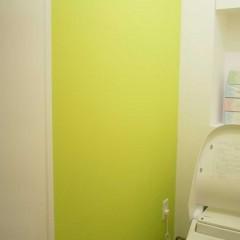 トイレは一転、目を引くレモンイエローのような色で塗装。