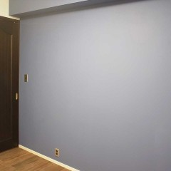 様々な箇所でアクセントに使用した色はブルーとブラック。こちらの壁はブルーグレーで塗装。
