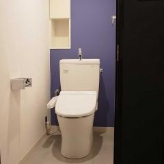 トイレの背面も、ブルー系で塗装仕上げにしています。