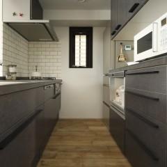 キッチンはリクシル。メラミンカウンターが珍しい。